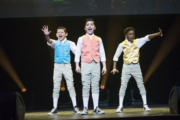 "At the Miscast Gala Monday night, Luca Padovan, Joshua Colley, and Douglas Baldeo, put their own twist on ""The Schuyler Sisters."" Work!"