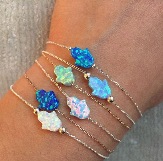 Featuring mini Opal Hamsa bracelet with your choice of chain. The size of hamsa is 8x10mm. *** The hamsa hand (Arabic) or hamesh hand (Hebrew)