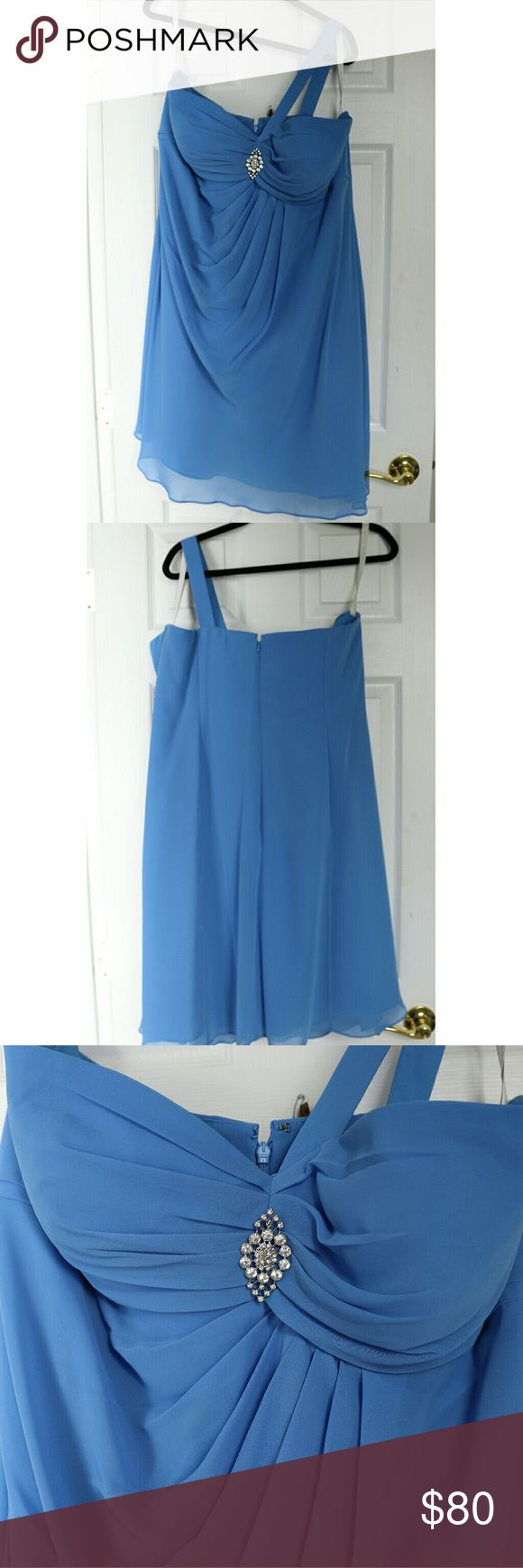 Light blue bridesmaid dress. Bridesmaid dress, worn once.  The pin is removable.  No wear or tear. Bill Levkoff Dresses Midi