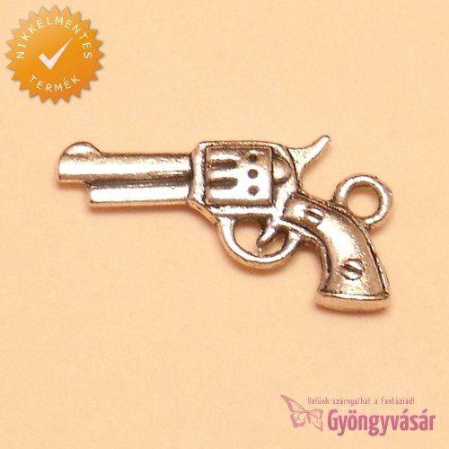 Ezüstszínű revolver - nikkelmentes fém zsuzsu / fityegő