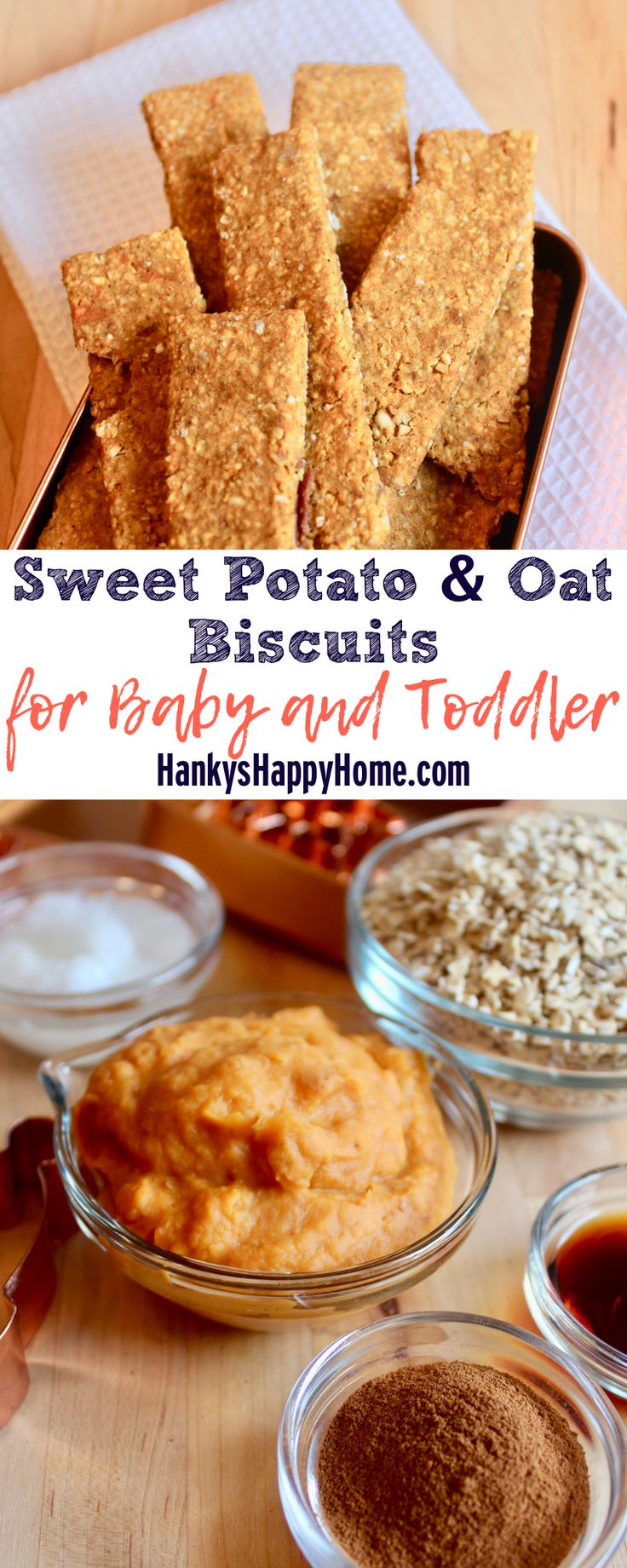 Sweet Potato & Oat Biscuits combine yummy sweet potatoes with hearty oats. Make them as easy finger food or a homemade teething biscuit.