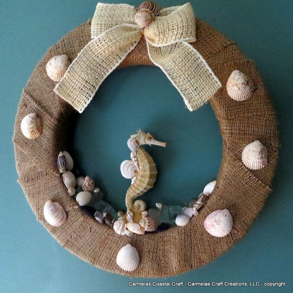 Burlap Beach Wreath with sea horse sea by CarmelasCoastalCraft, $55.00