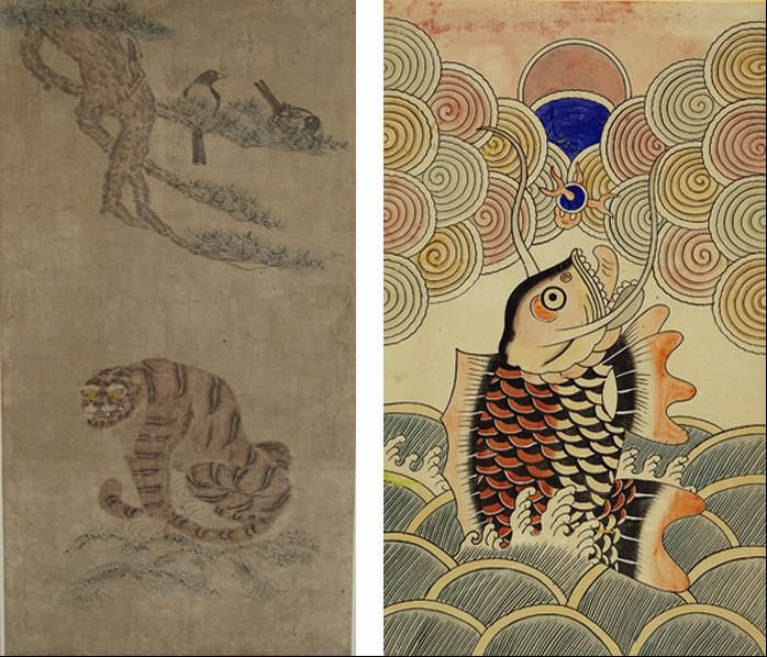 A folk painting known as Magpie and Tiger was painted to ward off bad spirits and pray for blessings (left); Eobyeonsungryongdo is a folk painting designed to wish for passing the civil servant exam of the Joseon and Goryeo dynasties and for a successful life (photo courtesy of the Joseon Folk Painting Museum).