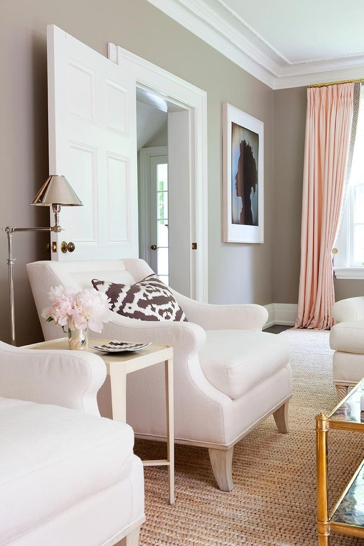 Pink Gold Gray Living Room With White Linen Sofa Curtains Hardware And Coffee Table Walls Are Bm Ranchwood Anne Hep