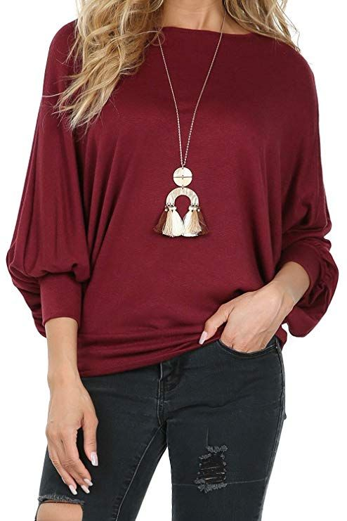 f1062bf84be P1120 Womens Pullover Boat Neck Dolman Sleeves Top Sweater Burgundy Small.  Visit. February 2019