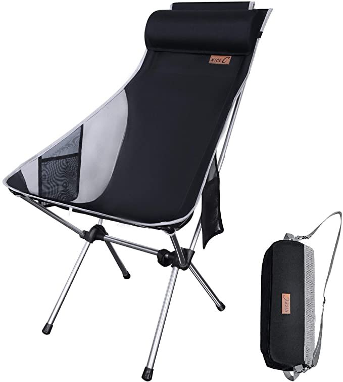Amazon Com Nice C Ultralight High Back Folding Camping Chair Upgrade With Removable Pillow Side Pocket In 2020 Camping Chairs Folding Camping Chairs Camping Chair