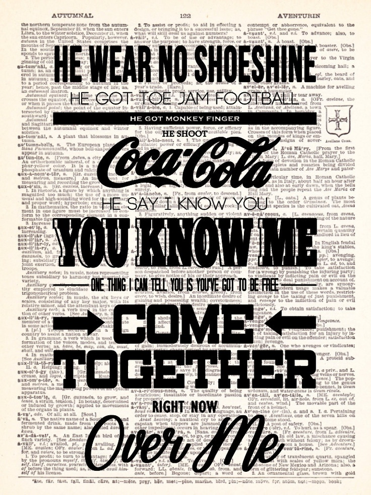 The Beatles Come Together Lyrics Typography by TheRekindledPage