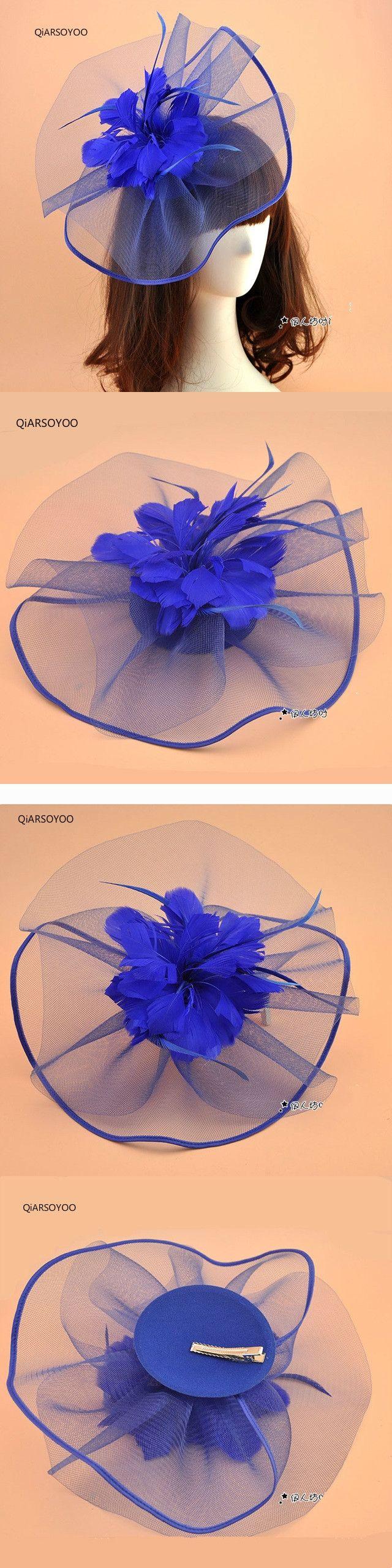 2017 Vintage Vogue Wedding Fascinator Hat Royal Blue Women Mesh Gauze Feather Fascinator Hair Clip Ladies Party Hair Accessories