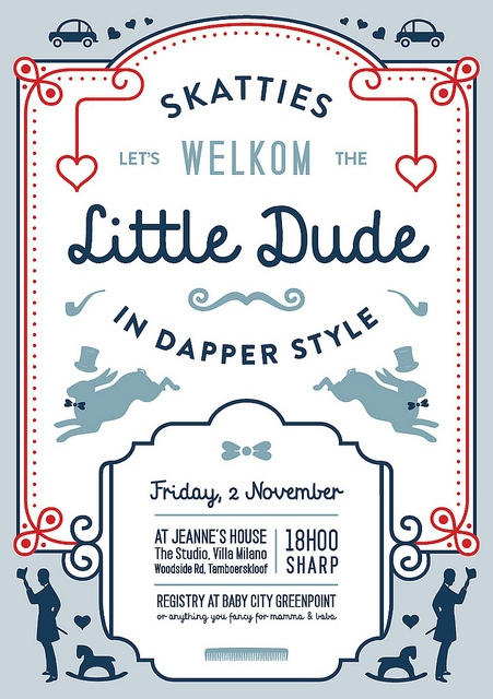 "Designed this baby shower invitation for a friend's sister. Nice to work on something cute for a change. (""Skatties"" means ""Darlings / Dearies"" in Afrikaans)"