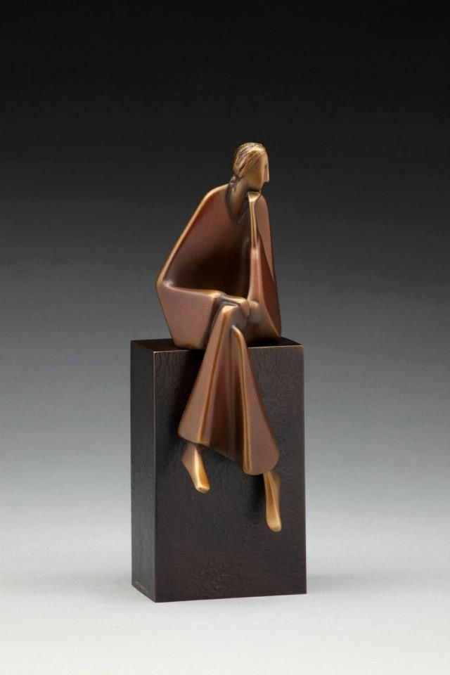 """Listening"" (2011), by Carol Gold. Bronze. Photo by Jafe Parsons.:"