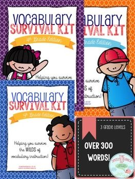 ** This is a ZIP file. Please make sure you have the software to open it before you purchase.**  You can take a tour of the 5th Grade Vocabulary Survival Kit HERE. It has all the same components and layouts at the other kits, only with different words.