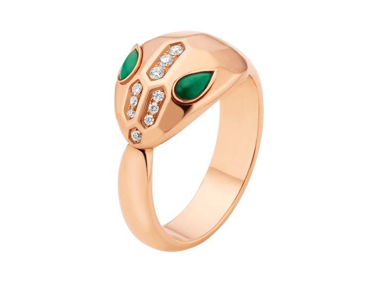 serpenti seduttori rose gold ring with malachite and demi pave diamonds