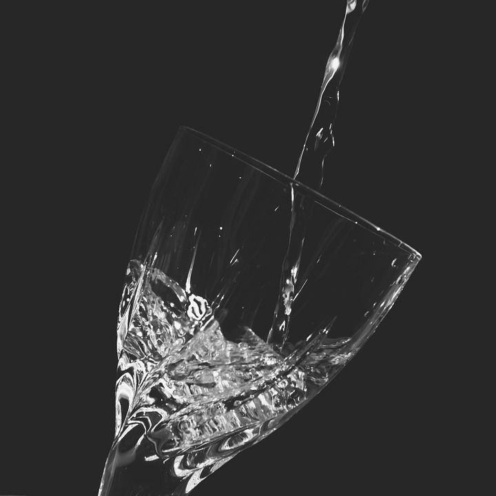 Water, Glas, Zwart Wit, Vloeistof, Gieten, Transparante