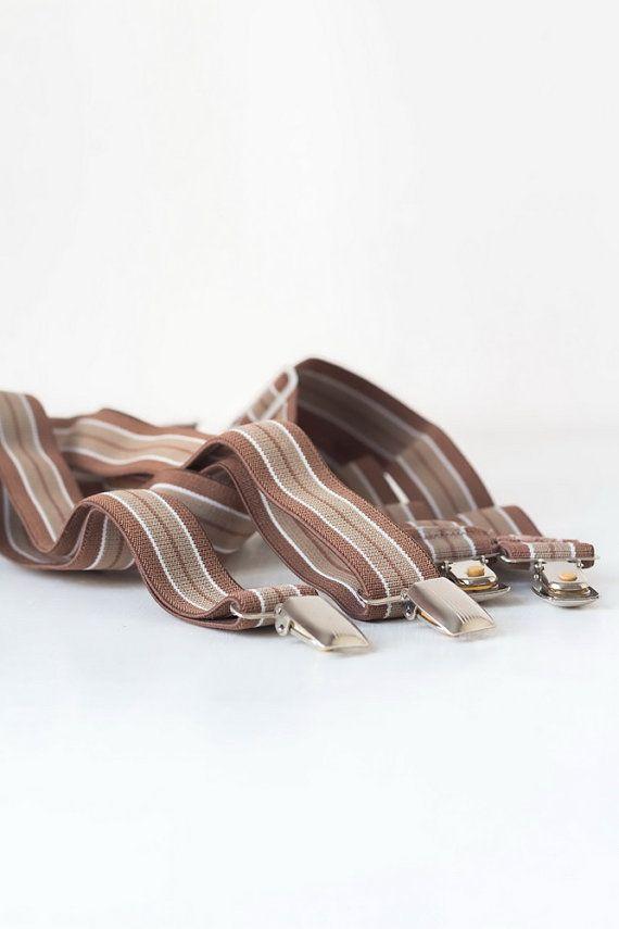 123.63 kr. Vintage suspenders Brown stripe braces Clip on by TimeTestedFinds