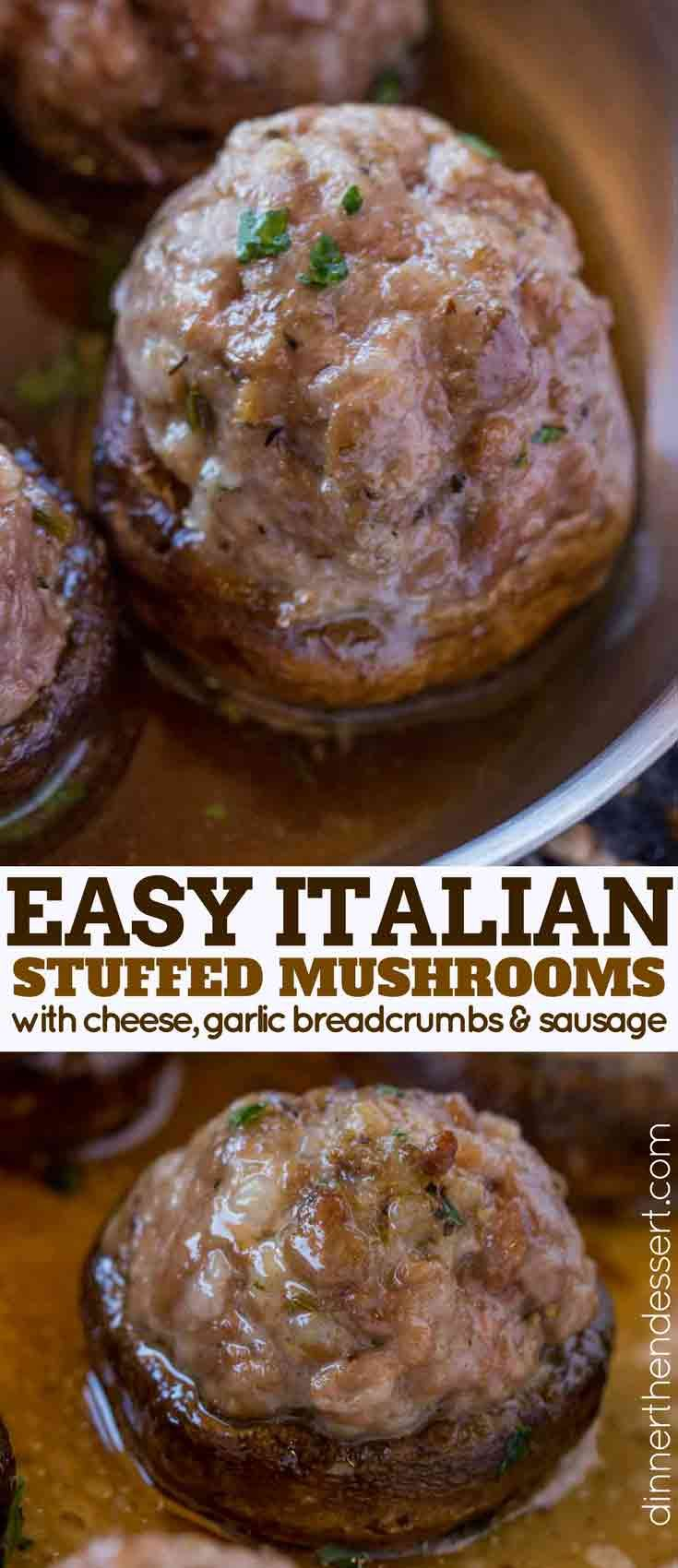 Easy Sausage Stuffed Mushrooms made with pork sausage, parmesan cheese, garlic and breadcrumbs are a restaurant favorite made at home in 15 minutes. A perfect Italian appetizer with no fuss.