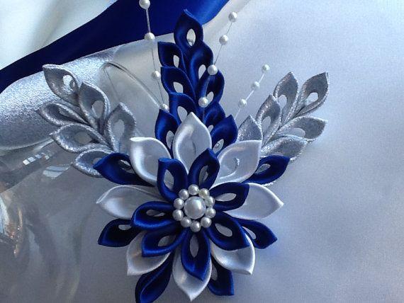 Hair Clip - Royal Blue Cobalt Blue Dark Blue, White & Silver Kanzashi Flower by Lihini Creations
