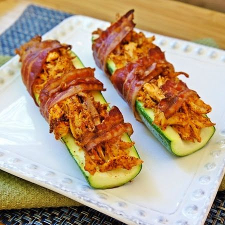 Bacon Wrapped Chicken Stuffed Zucchini - Delicious Recipe