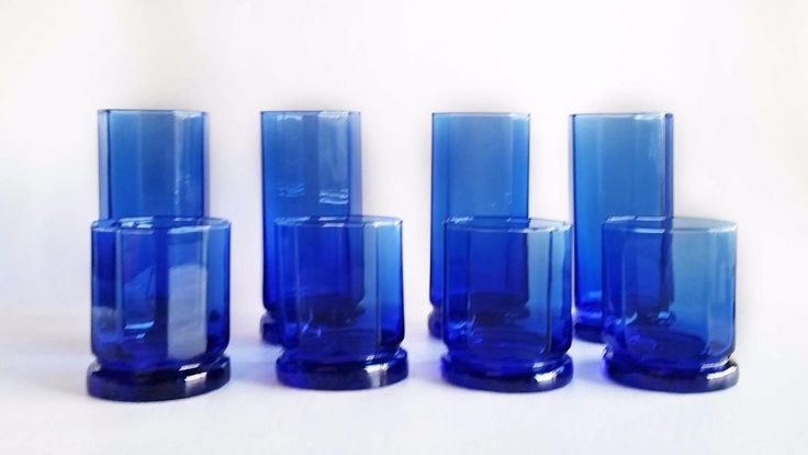 Cobalt Blue Drinking Glasses Set of 8 Rocks/Highball Glasses Decagonal 10 Sided