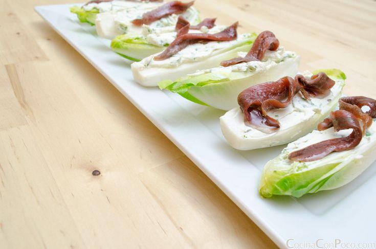 Endivias con queso y anchoas - Receta fácil - Recetas paso a paso con fotos - Cocina Con Poco