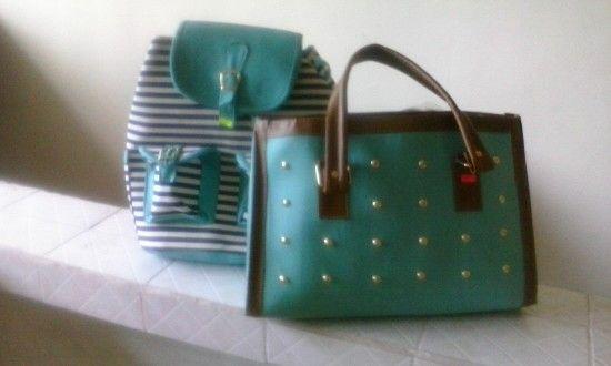200 c/u color aqua bolso y mochila