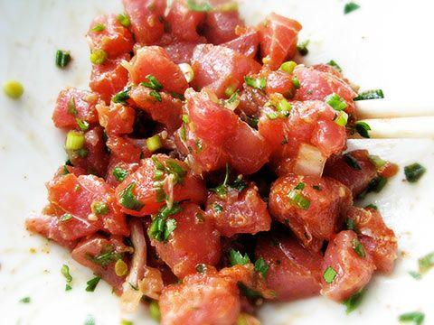 Fresh ahi Poke salad! The best is in Hawaii but also amazing at Bear Flag Fish Co. in Newport Beach. Soooo Good!