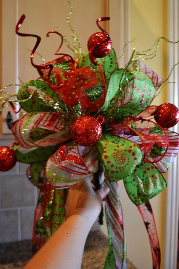 2013 Christmas Tree Topper, Cute Christmas Tree Topper for 2013, Green and Red Christmas Tree Topper