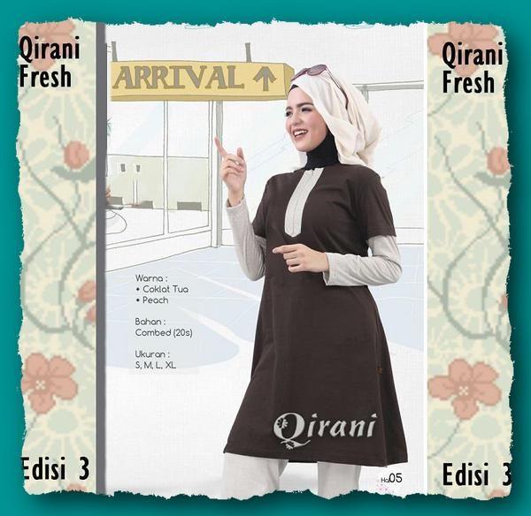 Qirani Fresh QDF 24  Coklat Tua  Model :   QDF 24  Coklat Tua  Qirani Fresh QDF 24  Coklat Tua  Harga QDF 24 : RP. 160.000  Size : S, M, L, XL  Warna :  Coklat Tua & Peach Bahan : Combed (20s)
