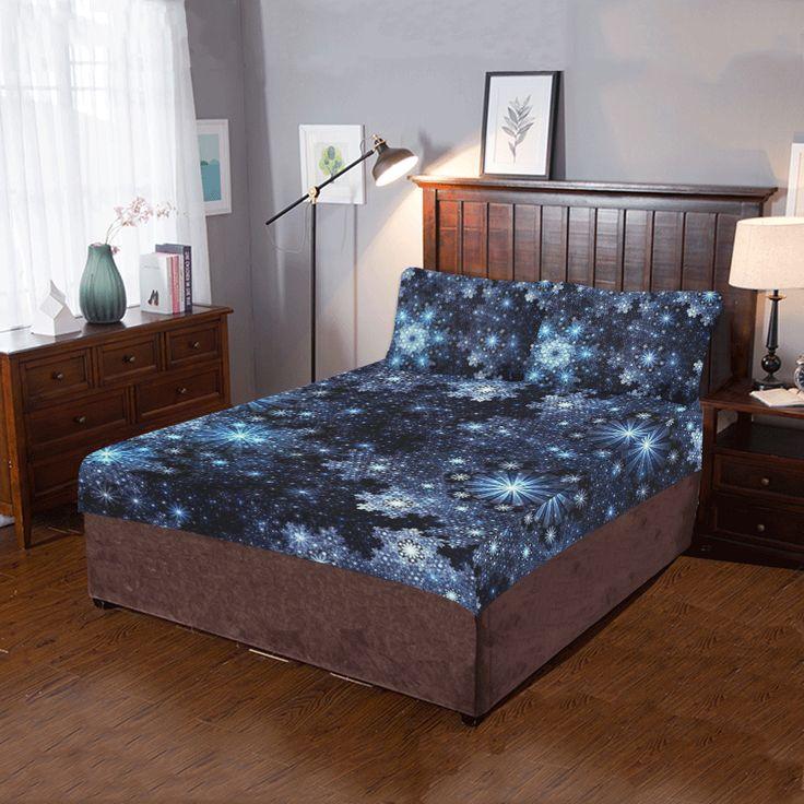 Wintery Blue Snowflake Pattern 3-Pieces Bedding Set