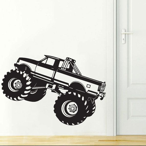 Monster Truck Kids Boys Wall Decal Room Decor Art Sticker Vinyl    Size: 33.9in W x 22.8in H (86cm x 58cm)    Ideal for Walls, Furniture, Vehicle and any clean flat surface - Indoors or Out The vinyl will last for years without peeling or fading.  There is no background color. Decal comes in three layers: Transfer tape, Vinyl Decal, and backing paper. Easy to follow application instructions will be included with your purchase.    The decal is cut from a high-quality, matte vinyl that is very…