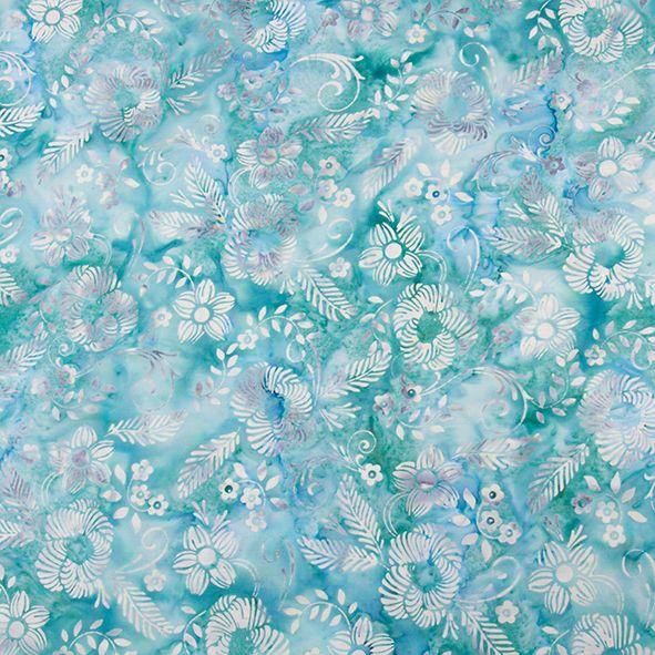 Bavlněná látka Batika Bali květy tyrkys BB