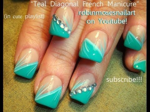Nail Art Tutorial | Easy Stripe Nail Design | Mint Teal Stripe Nails for Beginners - YouTube