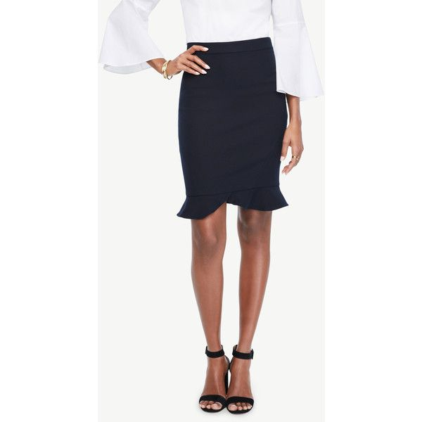 Ann Taylor Petite Ruffle Hem Pencil Skirt ($70) ❤ liked on Polyvore featuring skirts, atlantic navy, pencil skirt, long white skirt, white knee length skirt, white knee length pencil skirt and long tulip skirt