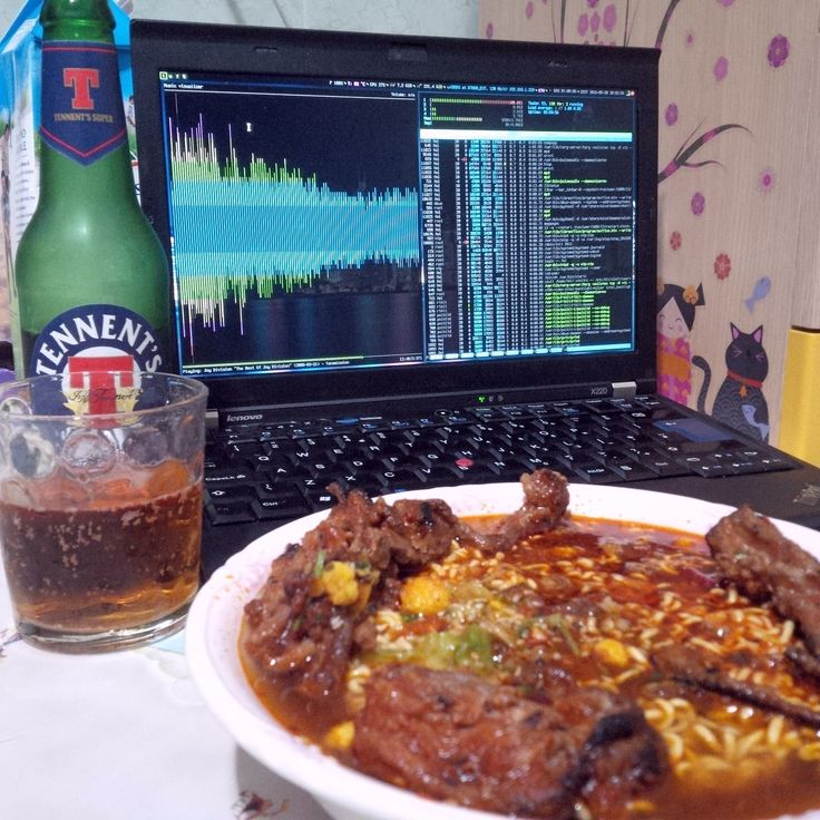 "Dinner ""ultra nerd"" mode ON #tennents #beer #ramen #thinkpad #linux by chungfeiwu"