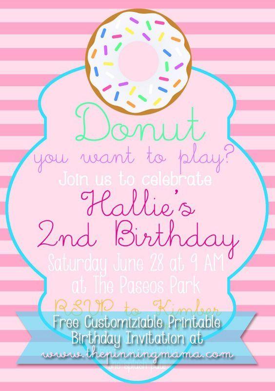 This Free Customizable Donut Birthday Party Invitation I
