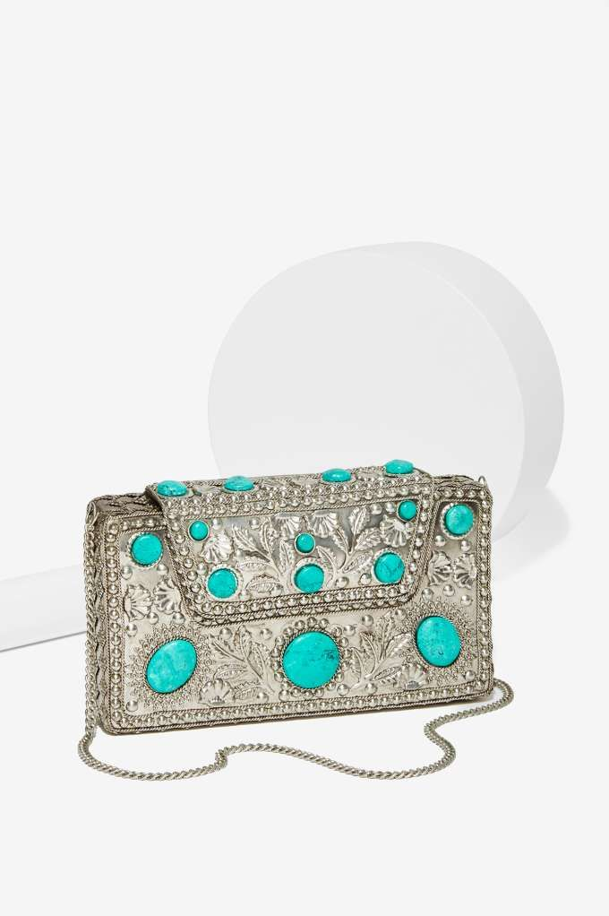 From St Xavier Elsi Turquoise Clutch