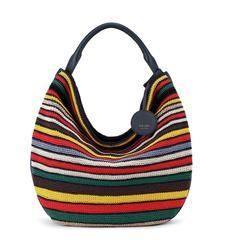 The Sak Collective The 120 Large Hobo - Crochet Seaside Stripe