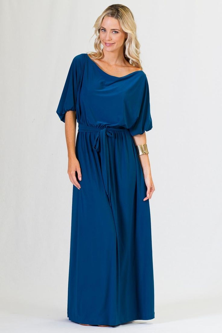 3/4 Sleeve Maxi Dress - Teal - Paper Scissors Frock  Beautiful 3/4 sleeve maxi dress is made from high quality ITY polyester fabric. This maxi has a wide neck so may be worn a number of ways - off one shoulder, off both shoulders and sitting on both shoulders. This changes the look considerably. Elasticised at the waist with a small matching polyester belt.   Pictured Model is 5'8'.