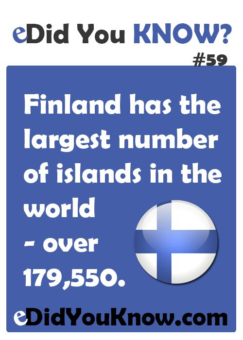 Finland has the largest number of islands in the world (over 179,550). http://edidyouknow.com/did-you-know-59/