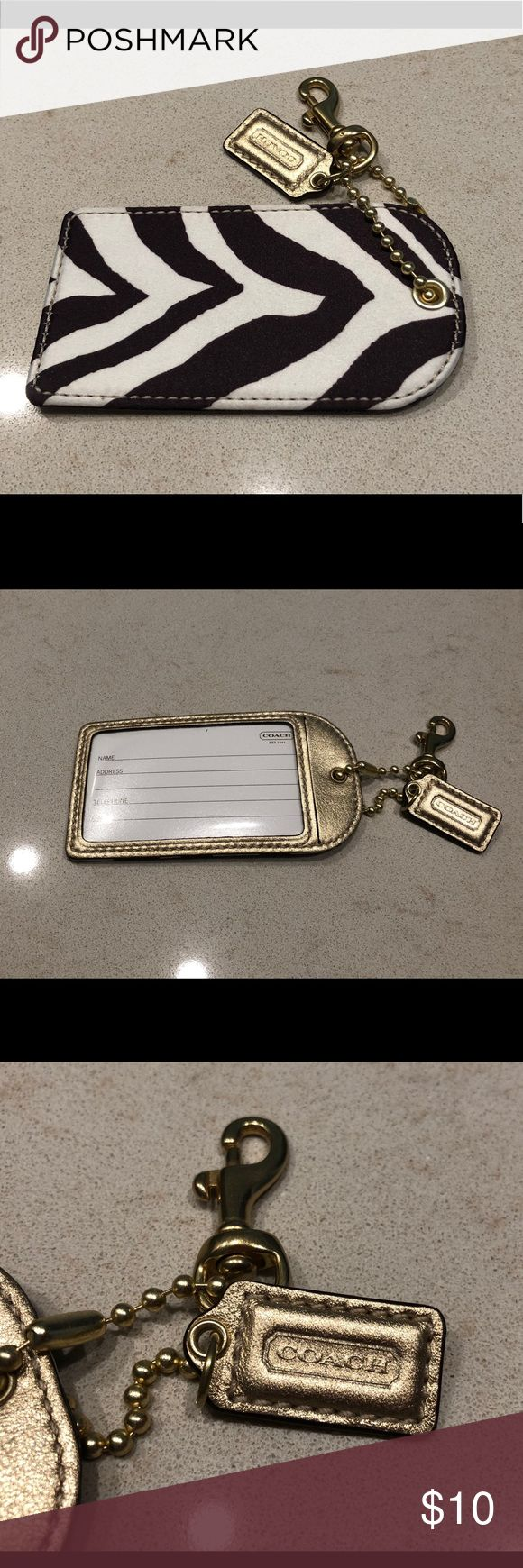 Coach Luggage Tag Never Used  Coach Zebra Luggage Tag  Colors White, Brown, and Metallic Gold Coach Accessories