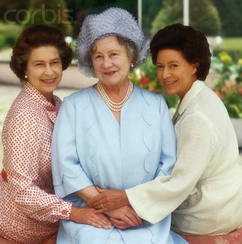 Queen Elizabeth II and her sister, Princess Margaret, with their mother Queen Elizabeth the Queen Mother.