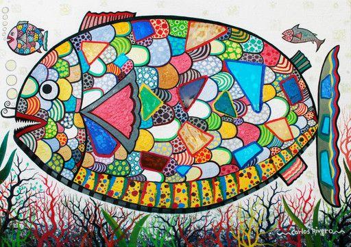 """""""CARLOS RIVERO Composición con pez."""" de FUNDACION VEARTE @ VirtualGallery.com"""