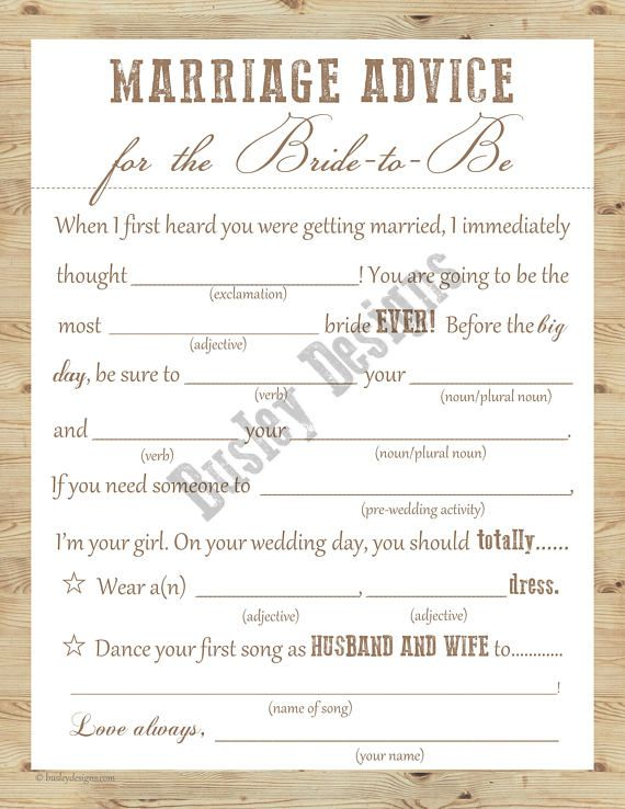 Rustic Bridal Shower, Country Bridal Shower, Rustic Bridal Shower Games, Country Bridal Shower Games, Marriage Advice, Wedding Mad-Libs