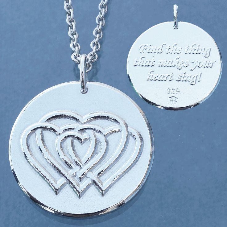 """An important advice for all people: """"Find the thing that makes your heart sing!"""" Find the thing that makes you happy ant enthusiastic.  This is a two-sided amulet made out of Sterling silver. Text on one side and weaved hearts on the other. Norwegian registered trademark Illuumi.  See more amulets at www.illuumi.no  #proverb #inspirationalquotes #inspiration #quotes #gift #amulet #silver #sølv #inspirasjon #amulett #gave #smykke #ordtak #hearts #happiness #lykke"""
