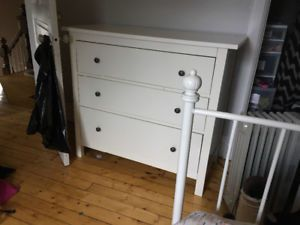 Three Drawer White Dresser with Mirror