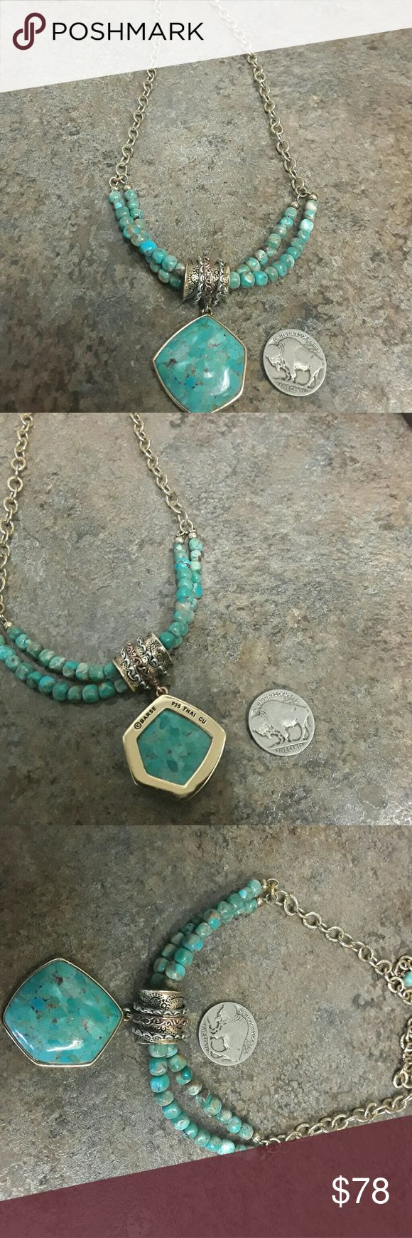 Barse Turquoise Necklace Gold tone. Stamped 925 Adjustable length..longest 22 inches to about 16 Barse Jewelry Necklaces