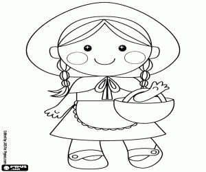 The little Red Riding Hood is the protagonist of the traditional and famous children's short story coloring page