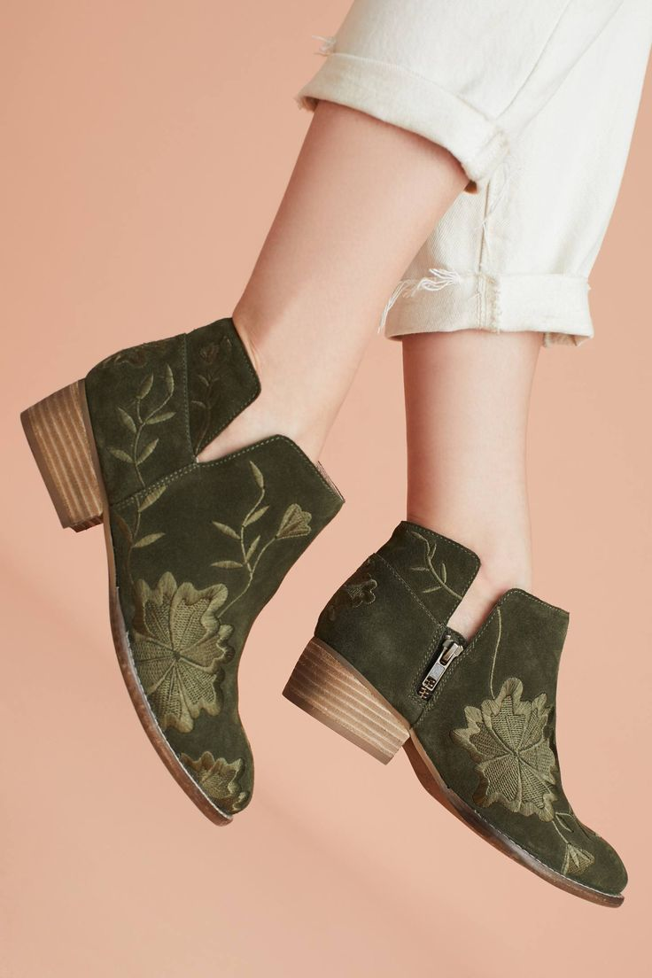 at Antrhopologie - Lantern Embroidered Booties in moss