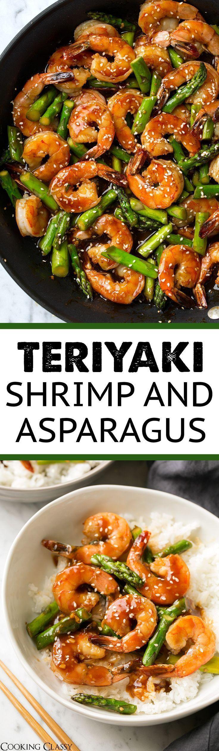 Teriyaki Shrimp and Asparagus - Cooking Classy