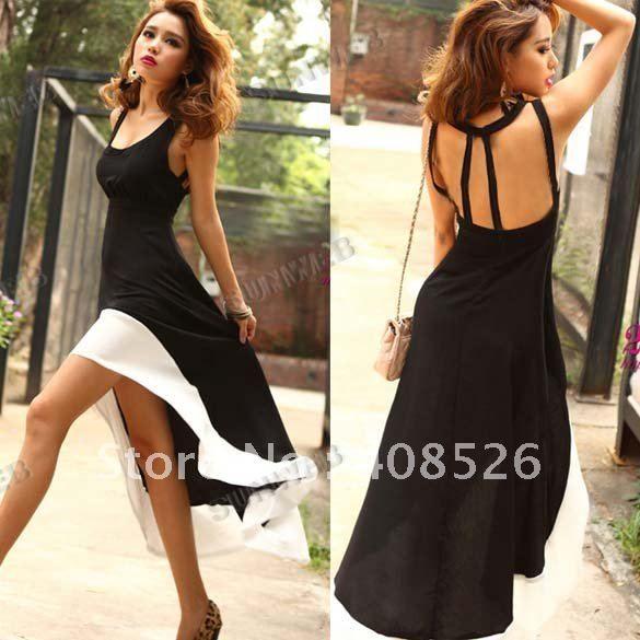 2012 Sexy Women/Lady Deep U Neck Bare Back Backless Dress Hem Tank Swallow Tail Sleeveless Summer Long Dress free shipping 8020 on AliExpress.com. $10.30