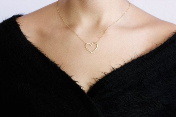 Silver Heart Necklace, Hammered Heart, Textured Heart Pendant, Layered Necklace, Gold Simple Heart Necklace, Dainty Silver Necklace, SN0030